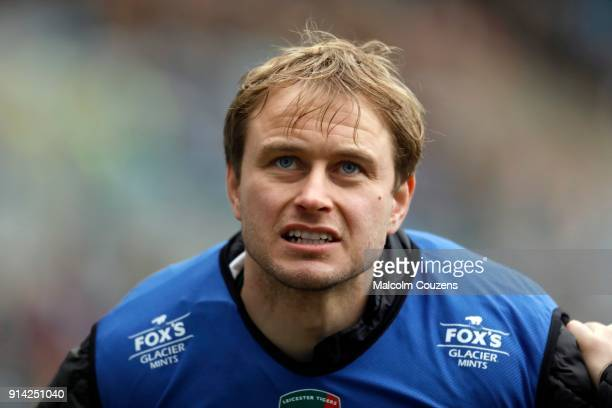 Mathew Tait of Leicester Tigers looks on during The AngloWelsh Cup match at Ricoh Arena on February 4 2018 in Coventry England