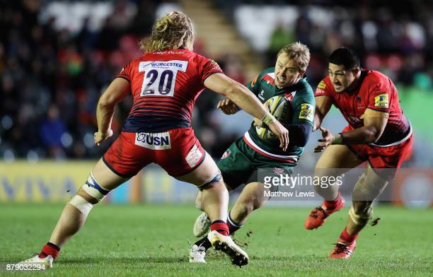 Mathew Tait of Leicester Tigers looks to break through the worcester defence during the Aviva Premiership match between Leicester Tigers and...