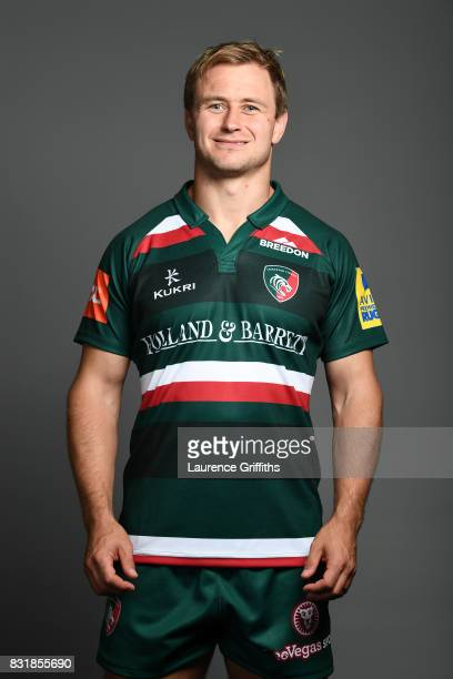 Mathew Tait of Leicester Tigers poses for a portrait during the squad photo call for the 20172018 Aviva Premiership Rugby season at Welford Road on...