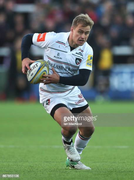 Mathew Tait of Leicester Tigers runs with the ball during the Aviva Premiership match between Newcastle Falcons and Leicester Tigers at Kingston Park...