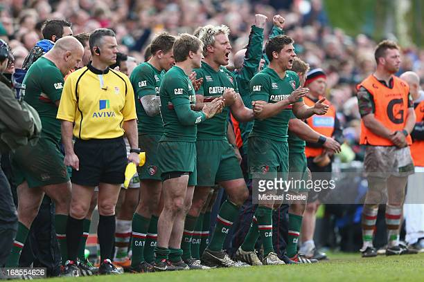 Mathew TaitToby FloodJordan Crane and Ben Youngs of Leicester Tigers applaud their sides victory on the final whistle during the Aviva Premiership...