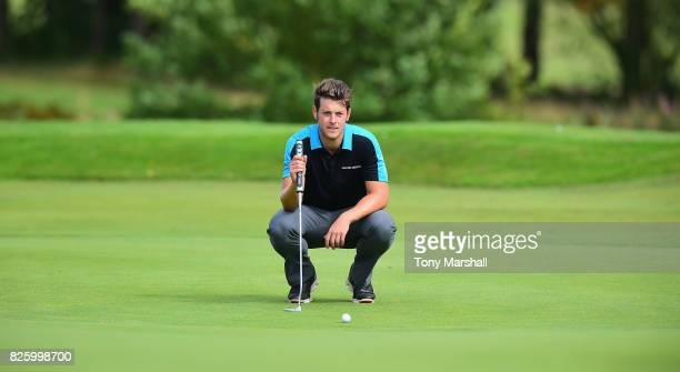Mathew Webb of Bedlingtonshire Golf Clublines up his putt on the 18th green during Day Two of the Galvin Green PGA Assistants' Championship at...