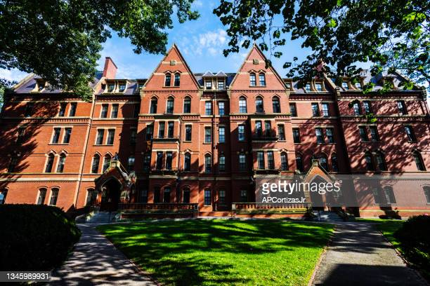 mathews hall - harvard yard - harvard university campus cambridge massachusetts - harvard yard stock pictures, royalty-free photos & images