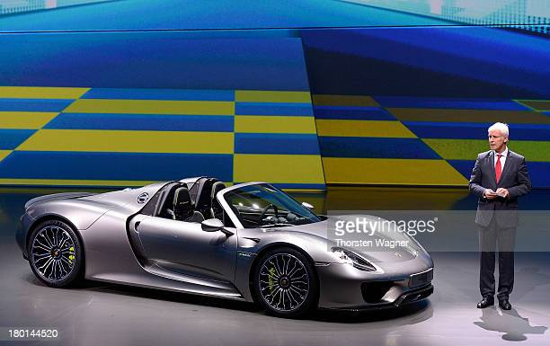 Mathhias Mueller chairman of the board of Porsche AG presentet the new Porsche 918 Spyder during the Group night at the international motor show IAA...