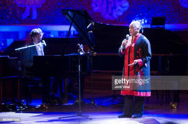 Mathias Algotsson and Barbara Hendricks perform on stage during Festival Internacional de Jazz de Barcelona on December 15 2017 in Barcelona Spain