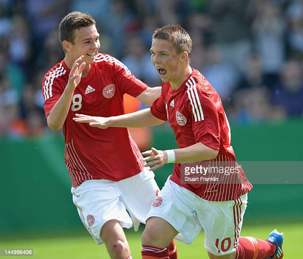 Mathias Andersen celebrates scoring the first goal with Mikkel Frankoch of Denmark during the under 16's international friendly match between Germany...