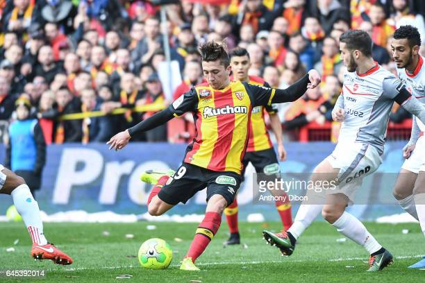 Mathias Autret of Lens during the French Ligue 2 match between Lens and Valenciennes at Stade BollaertDelelis on February 25 2017 in Lens France