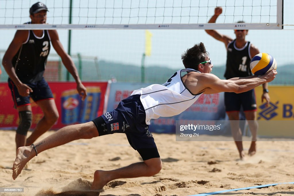 Mathias Berntsen of Norway in action with Sandlie Sorum Christian during the match against Krou Youssef and Aye Quincy of France on Day 3 of 2017 FIVB Beach Volleyball World Tour Qinzhou Open on October 13, 2017 in Qinzhou, China.