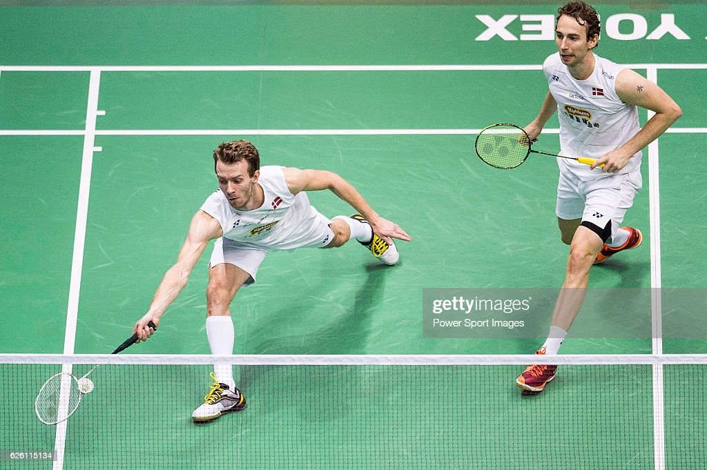 Mathias Boe and Carsten Mogensen of Denmark competes against Takeshi Kamura and Keigo Sonoda of Japan during their Men's Doubles Final of YONEX-SUNRISE Hong Kong Open Badminton Championships 2016 at the Hong Kong Coliseum on 27 November 2016 in Hong Kong, Hong Kong.