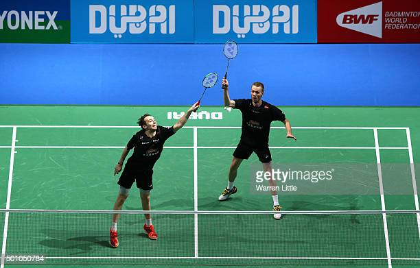 Mathias Boe and Carsten Mogensen of Denmark in action against Biao Chai and Wei Hong of China in the semi final of the Men's Doubles match during day...