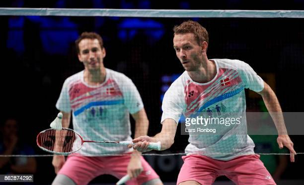 Mathias Boe and Carsten Mogensen of Denmark in action during the day one at the DANISA Denmark Open Badminton tournament at Odense Idratshal on...