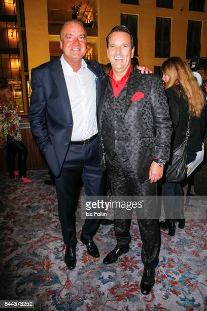 Mathias Bork CEO QVC Germany and Ralf Duemmel jury member of 'Hoehle der Loewen' attend a QVC event during the Vogue Fashion's Night Out on September...