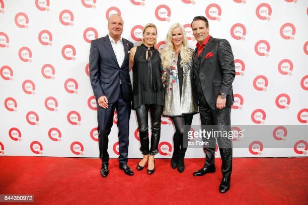 Mathias Bork CEO QVC Germany his wife Iris Bork German presenter Anna Heesch and her partner Ralf Duemmel jury member of 'Hohle der Loewen' attend a...