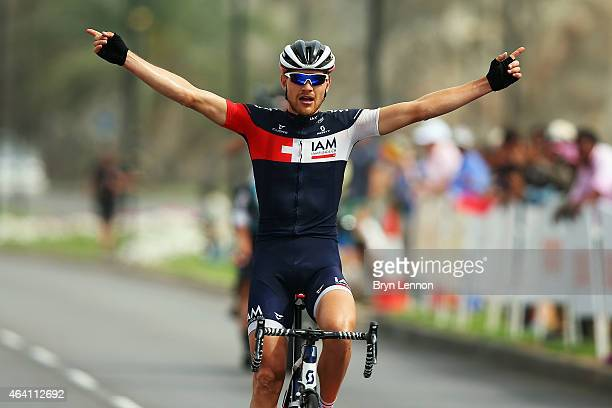 Mathias Brandle of Austria and IAM Cycling celebrates winning stage 6 of the 2015 Tour of Oman, a 133.5km road stage from Oman Air to the Matrah...
