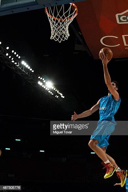 Mathias Calfani of Uruguay goes for a layup during a second stage match between Venezuela and Uruguay as part of the 2015 FIBA Americas Championship...