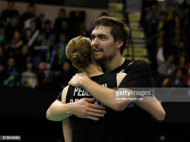 Mathias Christiansen of Denmark and Christinna Pedersen of Demark celebrates after defeating Takuro Hoki and Sayaka Hirota of Japan during Mixed's...