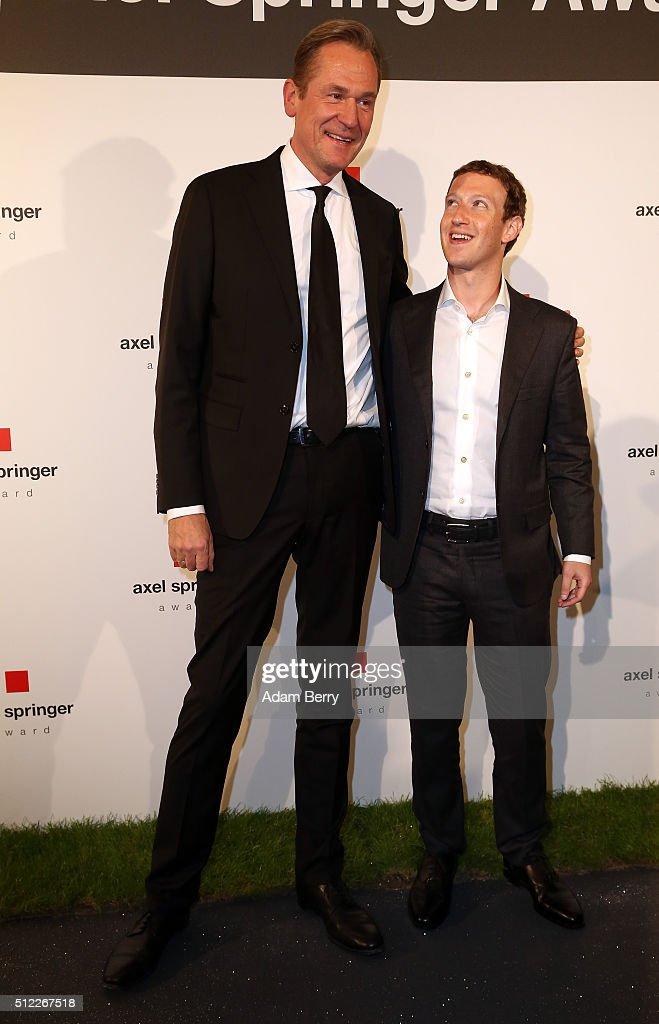 Mark Zuckerberg Awarded With Axel Springer Award In Berlin : News Photo