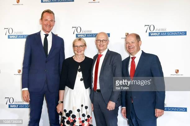 Mathias Doepfner , Eva-Maria Tschentscher, mayor of Hamburg Peter Tschentscher and German politician Olaf Scholz during the 70th anniversary...