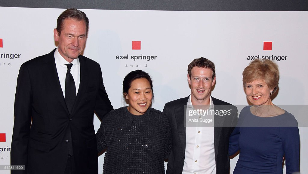 Mathias Doepfner, Marc Zuckerberg, his wife Priscilla Chan and Friede Springer arrive to the Axel Springer Award ceremony on February 25, 2016 in Berlin, Germany.