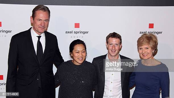Mathias Doepfner Marc Zuckerberg his wife Priscilla Chan and Friede Springer arrive to the Axel Springer Award ceremony on February 25 2016 in Berlin...