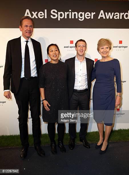 Mathias Doepfner Priscilla Chan Mark Zuckerberg and Friede Springer arrive for the presentation of the first Axel Springer Award on February 25 2016...