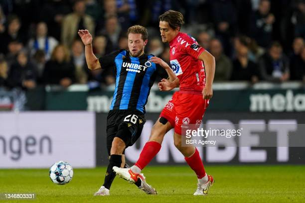 Mathias Fixelles of KV Kortrijk during the Jupiler Pro League match between Club Brugge and KV Kortrijk at Jan Breydelstadion on October 15, 2021 in...
