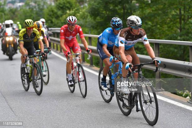 Mathias Frank of Switzerland and Team AG2R La Mondiale / Winner Anacona of Colombia and Movistar Team / Steve Morabito of Switzerland and Team...