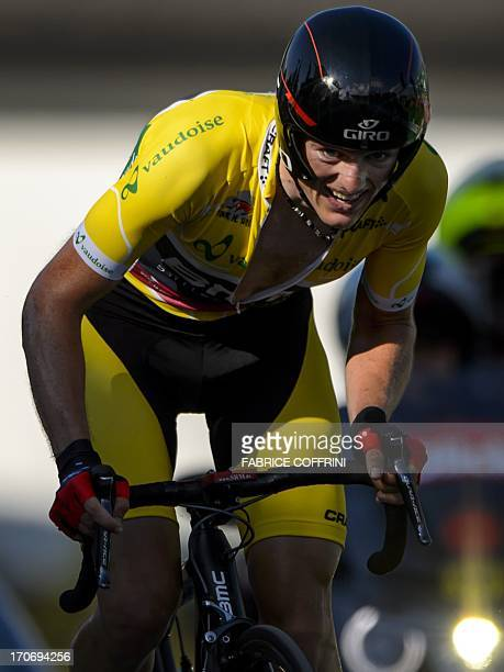 Mathias Frank of Switzerland rides during the final stage of Tour of Switzerland a 268 km time trial between Bad Ragaz and Flumserberg on June 16...