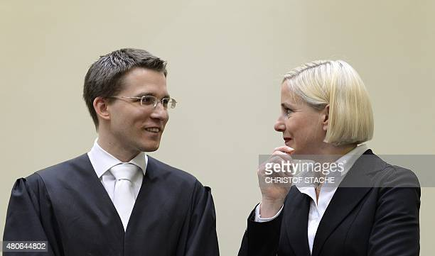 Mathias Grasel the new advocate attorney of Beate Zschaepe accused of being at the heart of neoNazi killer cell NSU and lawyer Anja Sturm speak...