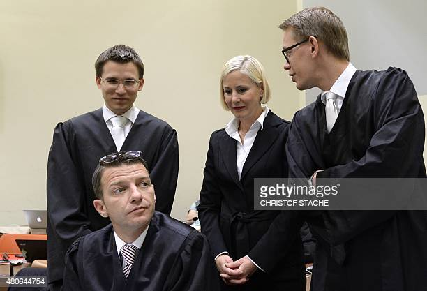 Mathias Grasel Wolfgang Stahl Anja Sturm and Wolfgang Heer laywers of Beate Zschaepe accused of being at the heart of neoNazi killer cell NSU wait...