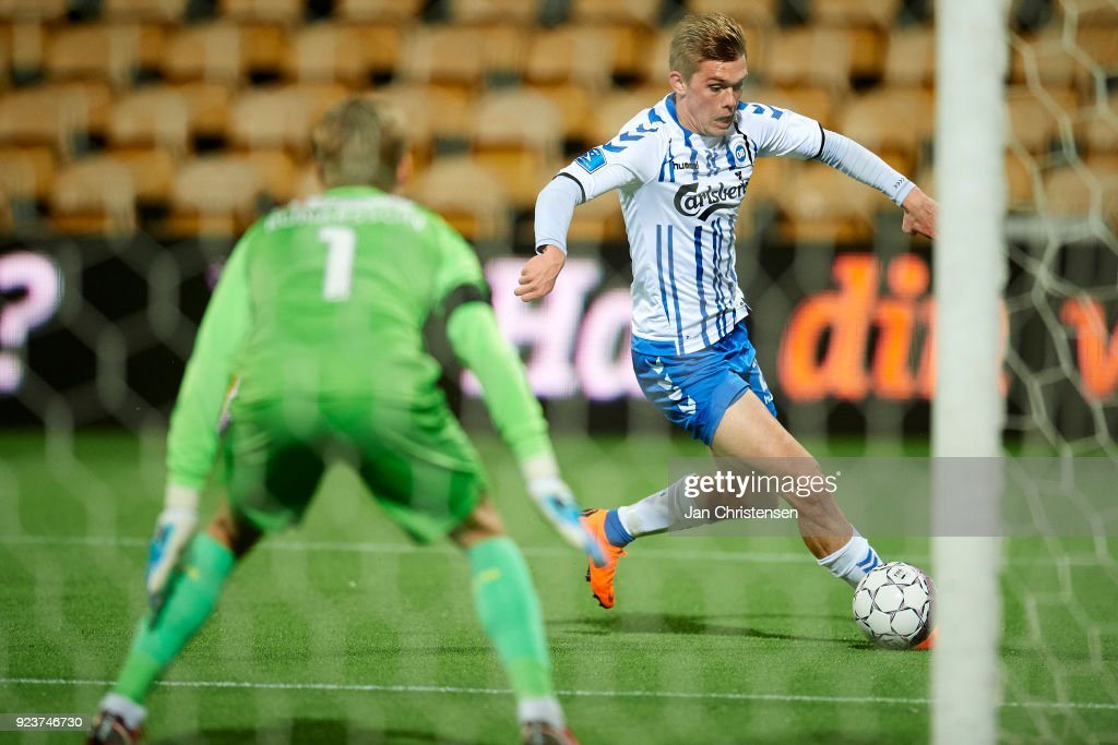 Mathias Greve of OB Odense in action during the Danish Alka Superliga match between FC Nordsjalland and OB Odense at Right to Dream Park on February 16, 2018 in Farum, Denmark.