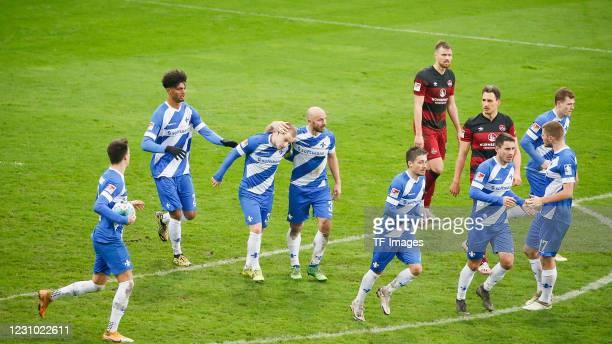Mathias Honsak of SV Darmstadt 98, Aaron Seydel of SV Darmstadt 98, Fabian Holland of SV Darmstadt 98, Patrick Herrmann of SV Darmstadt 98, Marvin...