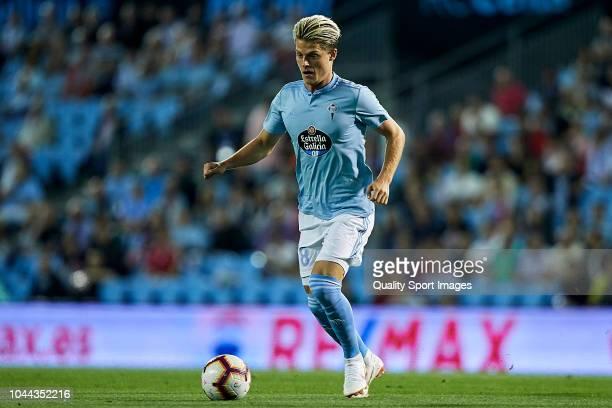 Mathias Jensen of Celta de Vigo controls the ball during the La Liga match between RC Celta de Vigo and Getafe CF at Estadio Abanca Balaidos on...