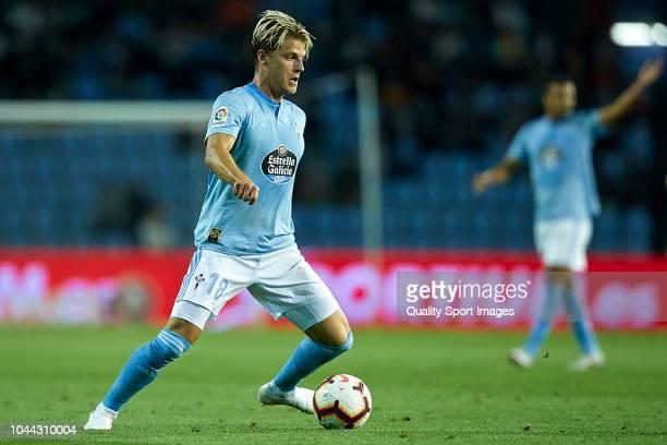 Mathias Jensen of Celta de Vigo in action during the La Liga match between RC Celta de Vigo and Getafe CF at Estadio Abanca Balaidos on October 1...