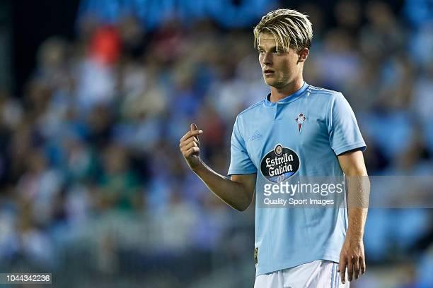 Mathias Jensen of Celta de Vigo reacts during the La Liga match between RC Celta de Vigo and Getafe CF at Estadio Abanca Balaidos on October 1 2018...