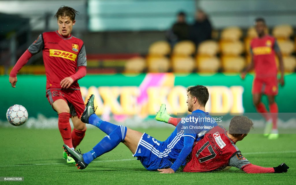 Mathias Jensen of FC Nordsjalland, Andrija Pavlovic of FC Copenhagen and Andreas Skovgaard of FC Nordsjalland compete for the ball during the Danish Alka Superliga match between FC Nordsjalland and FC Copenhagen at Right to Dream Park on February 26, 2017 in Farum, Denmark.