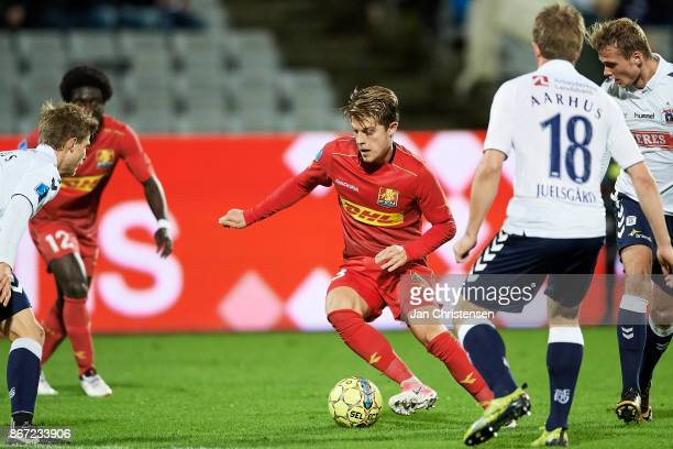 Mathias Jensen of FC Nordsjalland controls the ball during the Danish Alka Superliga match between AGF Arhus and FC Nordsjalland at Ceres Park on...