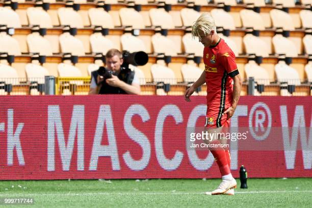 Mathias Jensen of FC Nordsjalland get an injury during the Danish Superliga match between FC Nordsjalland and Esbjerg fB at Right to Dream Park on...