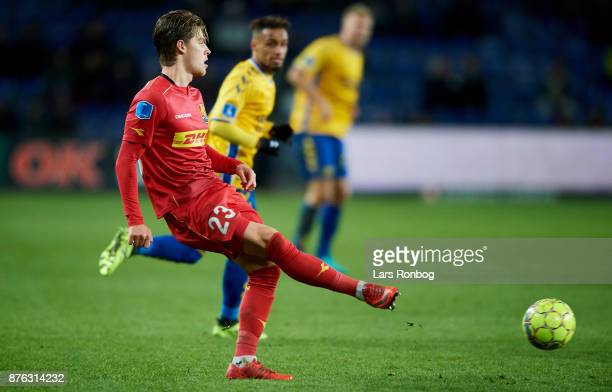 Mathias Jensen of FC Nordsjalland in action during the Danish Alka Superliga match between Brondby IF and FC Nordsjalland at Brondby Stadion on...
