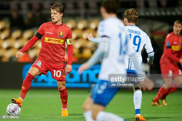 Mathias Jensen of FC Nordsjalland in action during the Danish Alka Superliga match between FC Nordsjalland and OB Odense at Right to Dream Park on...