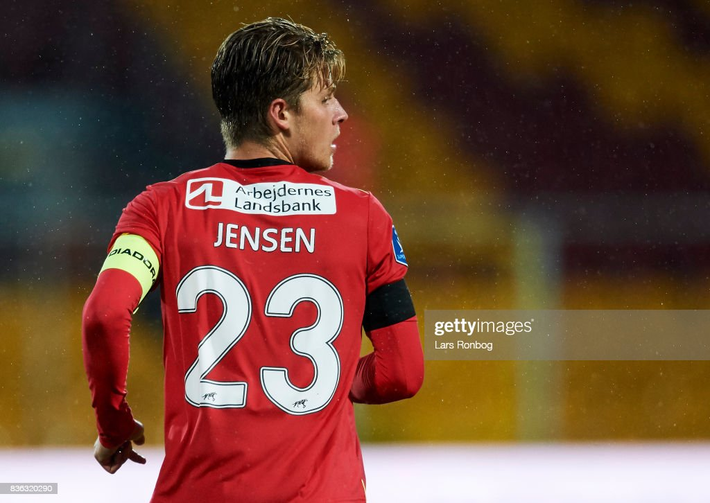 Mathias Jensen of FC Nordsjalland looks on during the Danish Alka Superliga match between FC Nordsjalland and FC Helsingor at Right to Dream Park on August 21, 2017 in Farum, Denmark.
