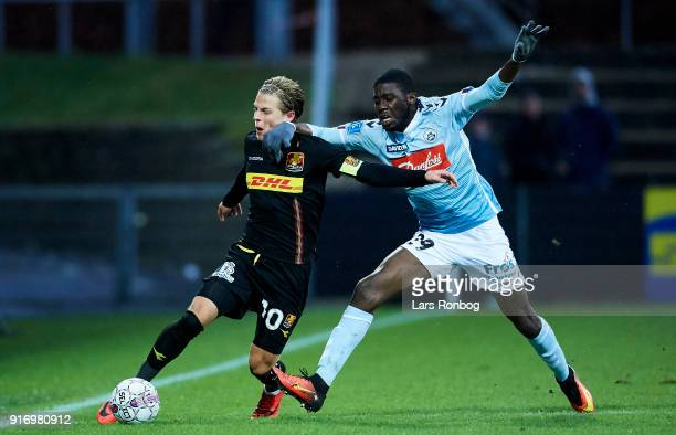 Mathias Jensen of FC Nordsjælland and Victor Ekani of Sonderjyske compete for the ball during the Danish Alka Superliga match between Sonderjyske and...