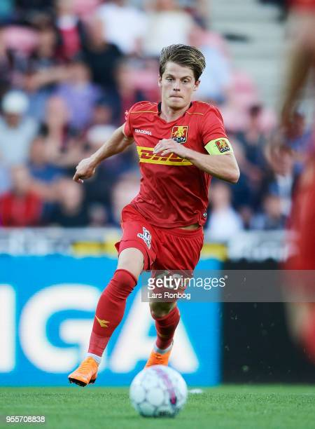 Mathias Jensen of FC Nordsjælland controls the ball during the Danish Alka Superliga match between FC Midtjylland and FC Nordsjalland at MCH Arena on...