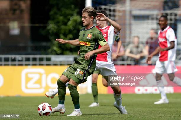 Mathias Jensen of FC Nordsj¾lland Jurgen Ekkelenkamp of Ajax during the Club Friendly match between Ajax v FC Nordsjaelland at the Sportpark Putter...