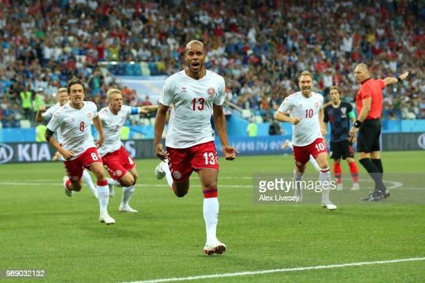 Mathias Jorgensen of Denmark celebrates after scoring his team's first goal during the 2018 FIFA World Cup Russia Round of 16 match between Croatia...