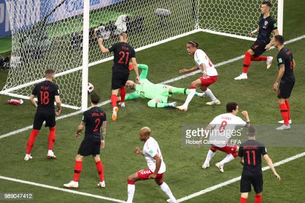 Mathias Jorgensen of Denmark celebrates scoring his team's first goal past Danijel Subasic of Croatia during the 2018 FIFA World Cup Russia Round of...