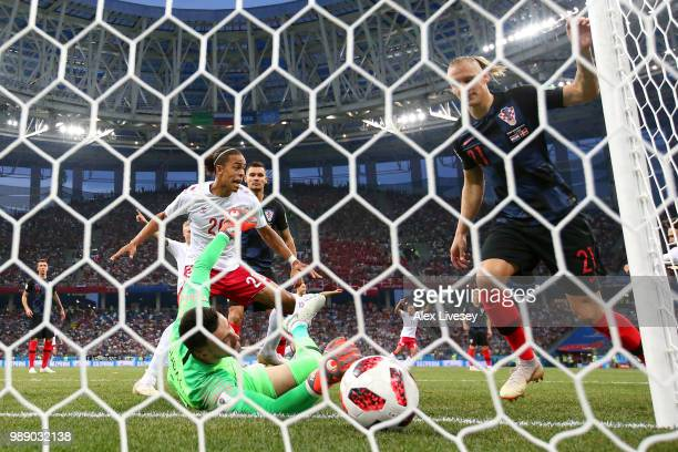 Mathias Jorgensen of Denmark scores his team's first goal past Danijel Subasic of Croatia during the 2018 FIFA World Cup Russia Round of 16 match...