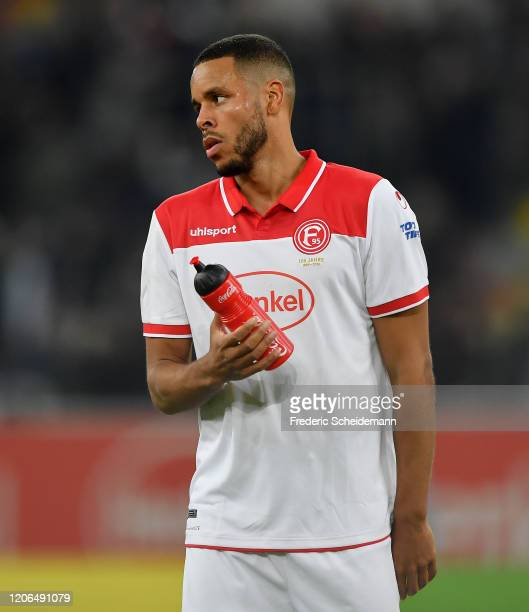 Mathias Jorgensen of Duesseldorf shows his disappointment after the Bundesliga match between Fortuna Duesseldorf and Borussia Moenchengladbach at...
