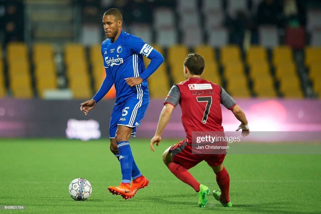 Mathias Jorgensen of FC Copenhagen in action during the Danish Alka Superliga match between FC Nordsjalland and FC Copenhagen at Right to Dream Park on February 26, 2017 in Farum, Denmark.