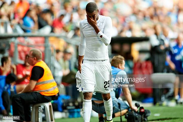 Mathias Jorgensen of FC Copenhagen looks dejected after getting a red card during the Danish Superliga match between FC Copenhagen and Hobro IK at...